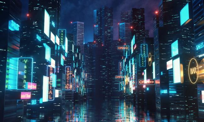 A cyberpunk-style city street with neon lights.