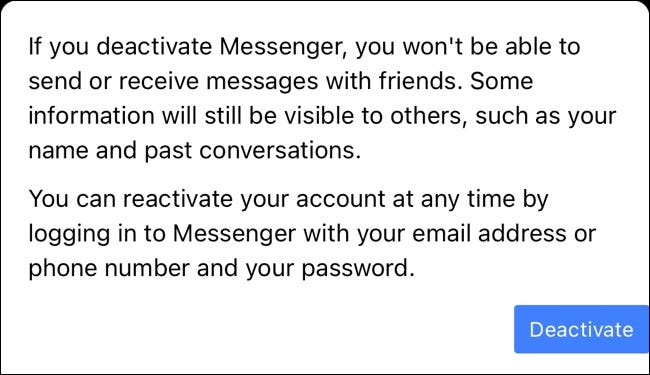 Кнопка отключения для Facebook Messenger