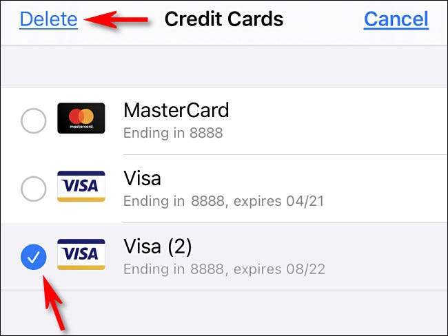 """After tapping """"Edit,"""" select a card from the list then tap """"Delete."""""""