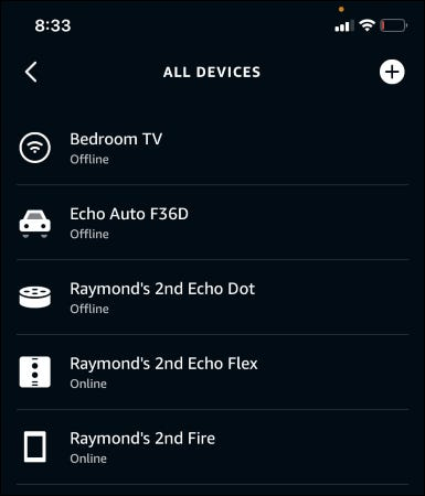 The Alexa app showing all devices.