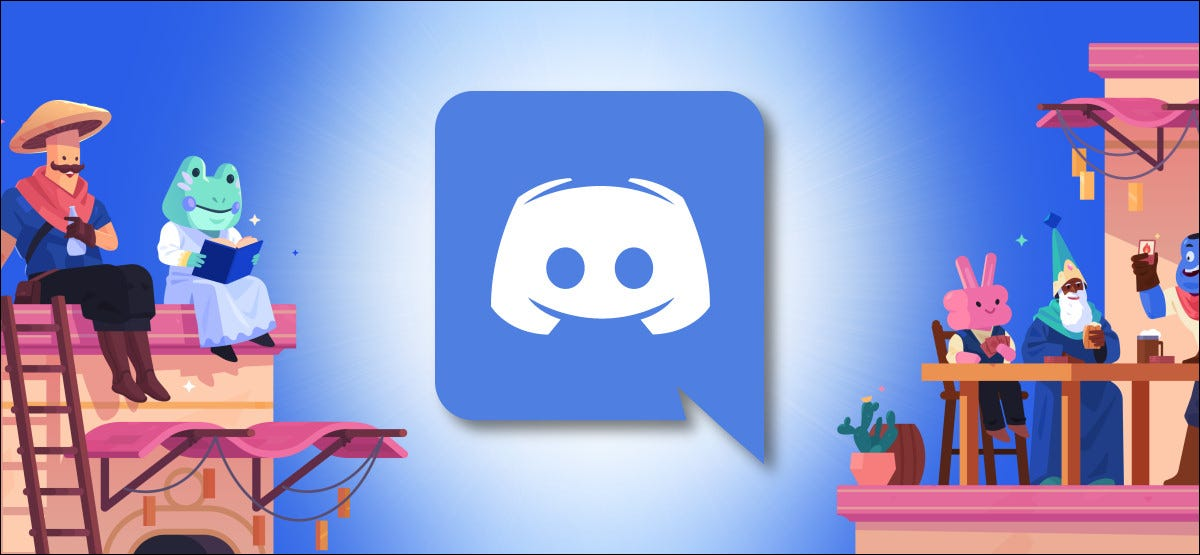 Discord Logo with Cartoon Characters