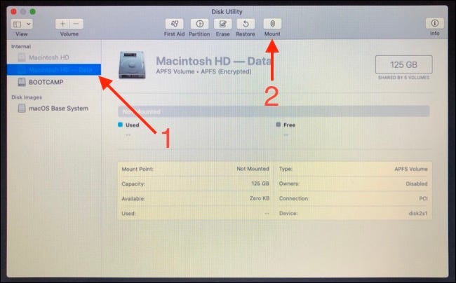 Mount Parition in Disk Utility