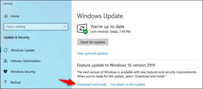 """Click """"Download and Install"""" under the Feature Update section."""