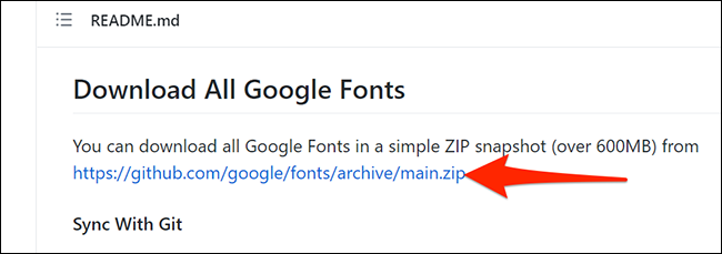 Загрузите все шрифты Google с GitHub.