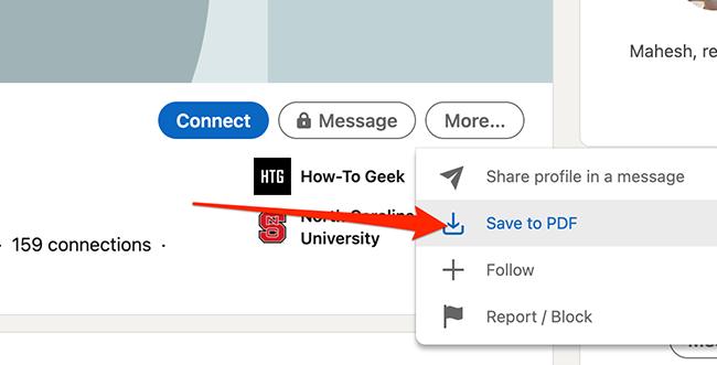 """Нажмите """"Сохранить в PDF"""" на странице профиля участника LinkedIn, чтобы загрузить его профиль."""