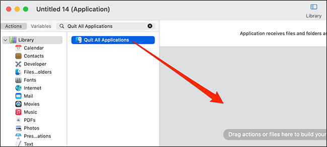 """Add """"Quit All Applications"""" to the Automator workflow."""