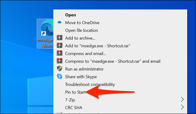 Right-click the shortcut on the Edge desktop and select