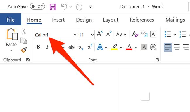 Щелкните раскрывающееся меню шрифтов в окне Word.
