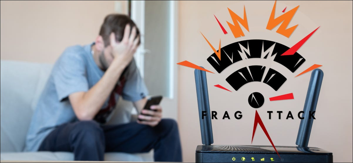 A man with his face behind a router with a FragAttack logo.