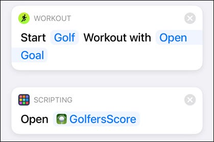 Trigger Golf Workout and App with Shortcuts