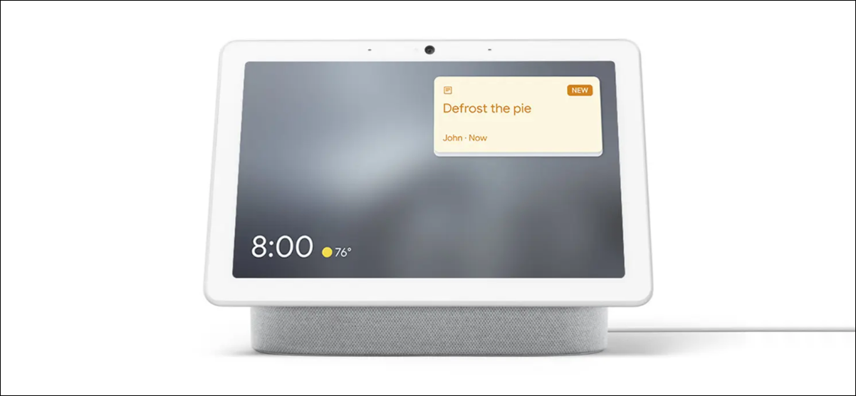 nest hub with family note