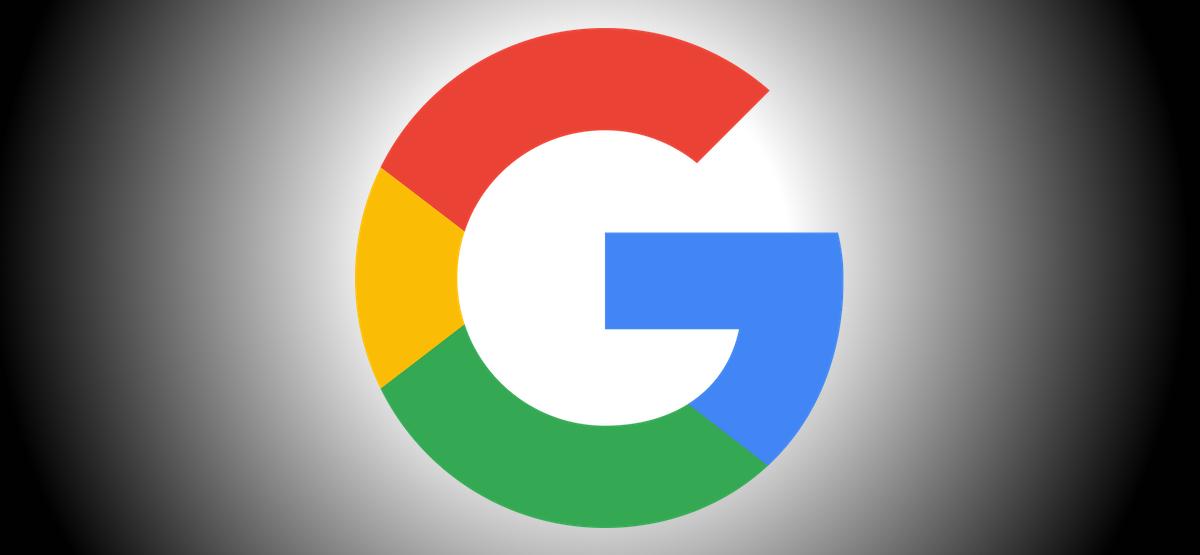 Google logo on black background