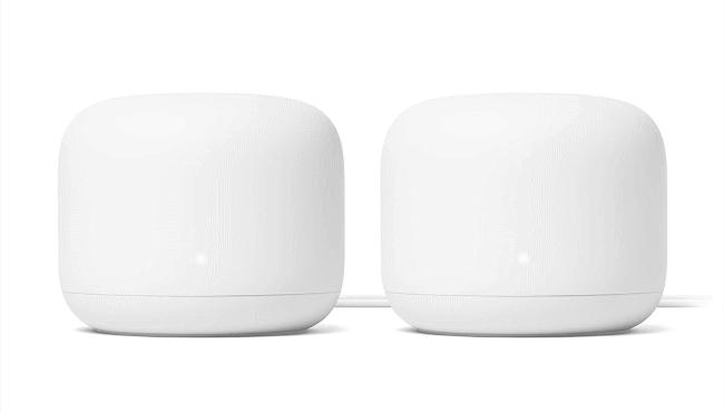 Two Google Nest Wifi mesh Wi-Fi units.