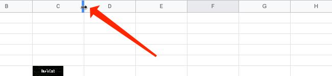 Adjust column size in Google Sheets.