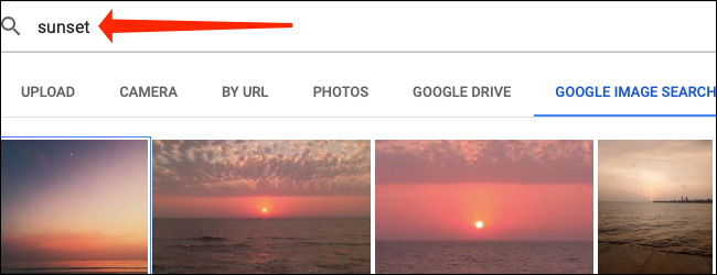 Use the search box to find an image from Google Images in Google Sheets.