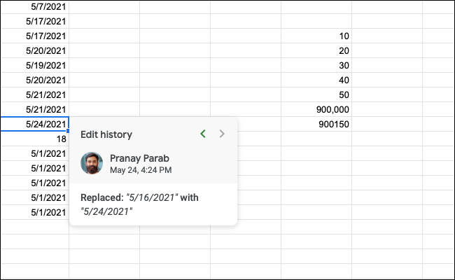 The edit history of a cell in Google Sheets