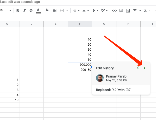 Click the right arrow to see newer changes to a cell in Google Sheets