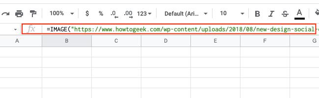 The formula bar in Google Sheets.