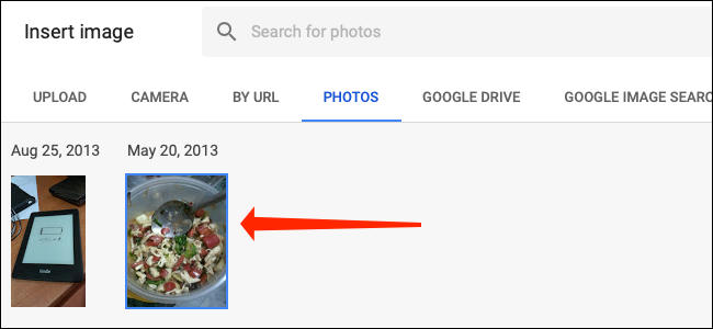 Select an image from Google Photos in Google Sheets.