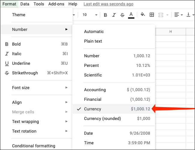 Click Currency under Format > Number in Google Sheets
