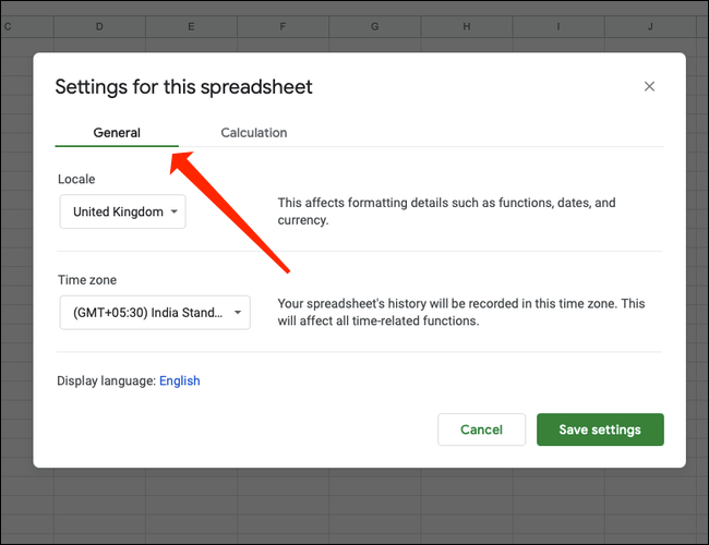 Click the General tab under Settings for this spreadsheet