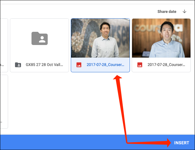 Select the image from Google Drive and click