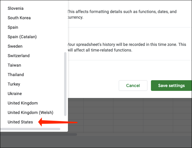 Click United States to set the default currency in Google Sheets