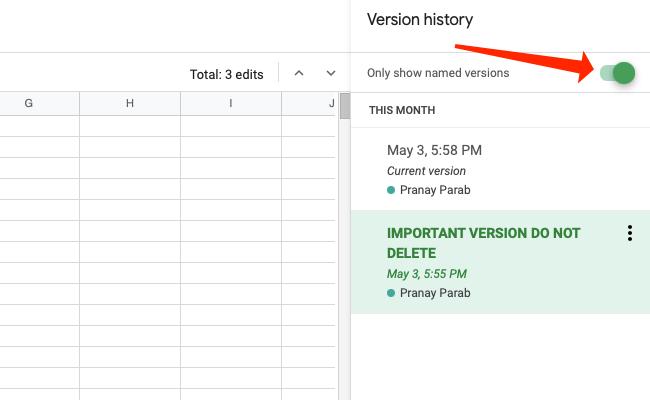 """Давать возможность """"Показать именованные версии"""" чтобы скрыть все версии только с отметками времени для имен в Google Таблицах."""