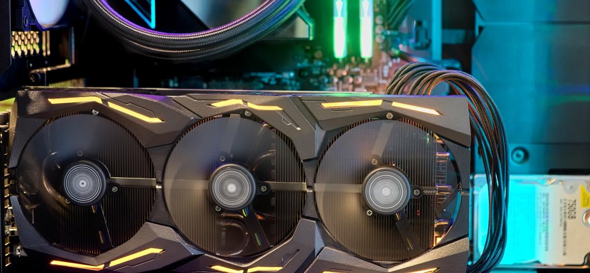 A GPU inside a desktop PC.