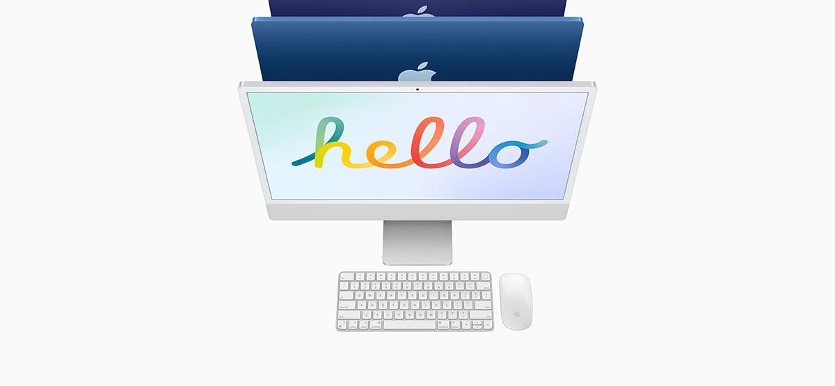 Hello screen saver on an Apple iMac