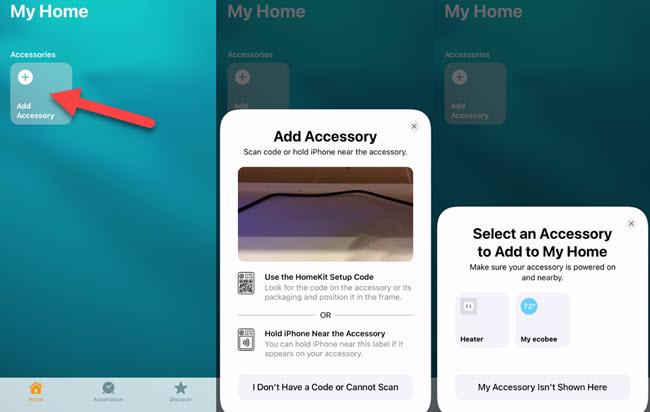 Add a device in the HomeKit app.