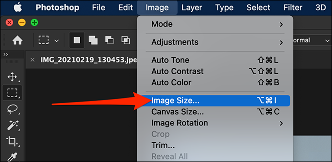 """Select """"Image > Image Size"""" from Photoshop's menu bar."""