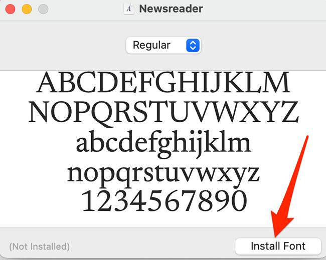 "Нажмите ""Установить шрифт"" на экране предварительного просмотра шрифта в Mac."