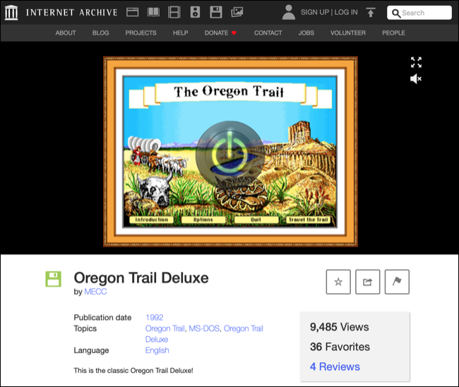 Playing DOS Games in the Internet Archive via a Browser