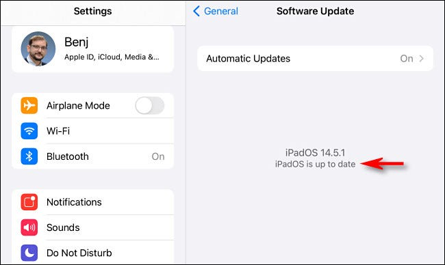 """If there are no updates, you'll see """"iPadOS is up to date."""""""