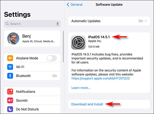 """If there's an iPadOS update available, you'll see a """"Download and Install"""" or an """"Install Now"""" button."""