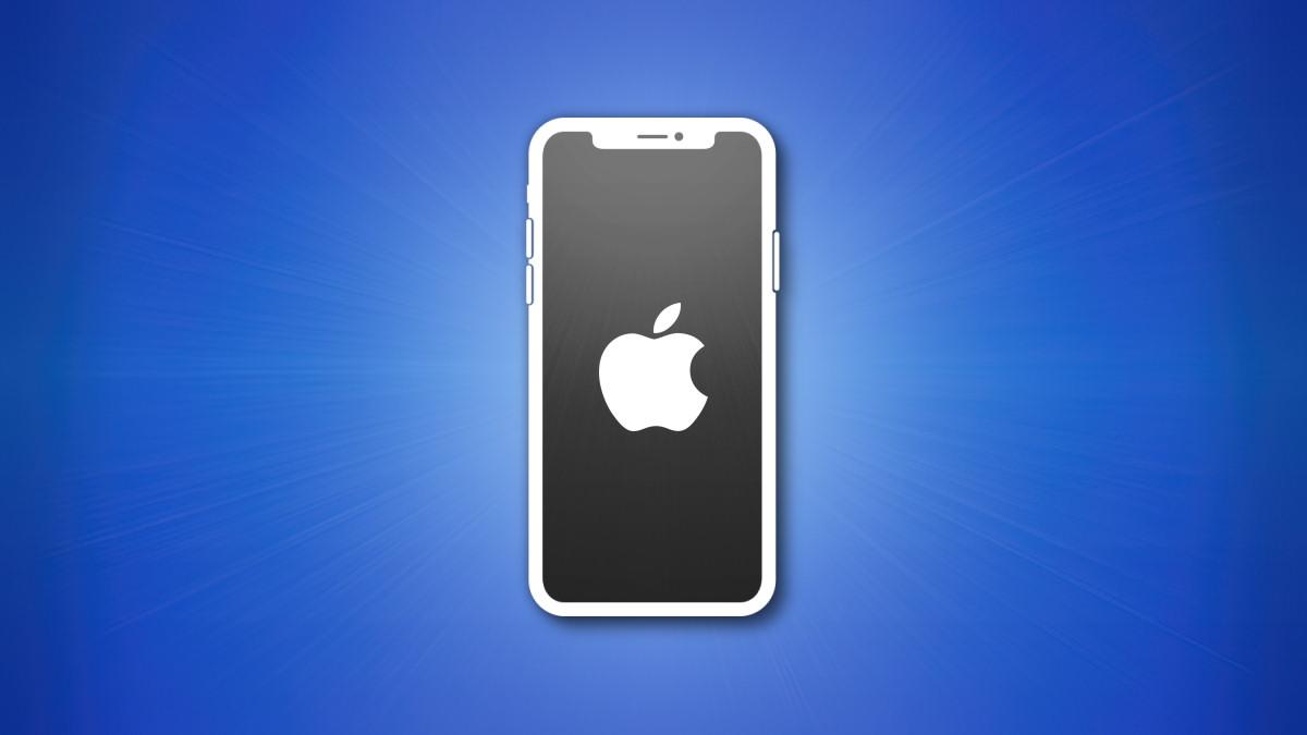 Контур iPhone с серым экраном на синем фоне