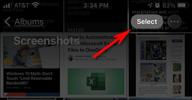 """In Photos, tap """"Select."""""""