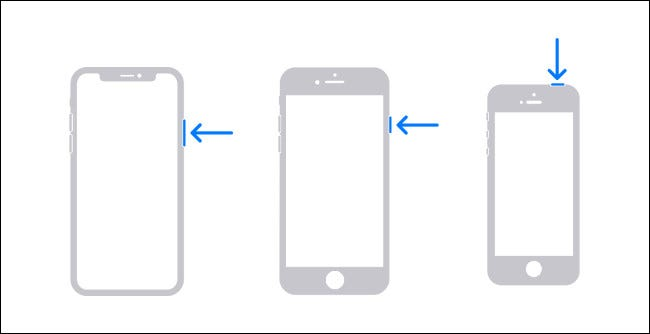 Diagram showing the hardware buttons you must press and hold to shut down an iPhone.
