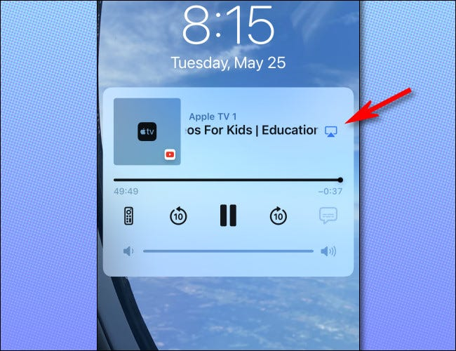 On the iPhone lock screen, tap the small AirPlay icon next to the media title.