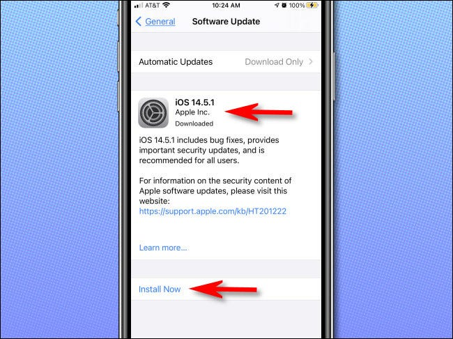 """If an iOS update is available, it will be listed on the """"Software Update"""" page."""