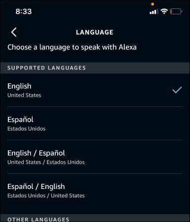The Alexa app showing available languages.