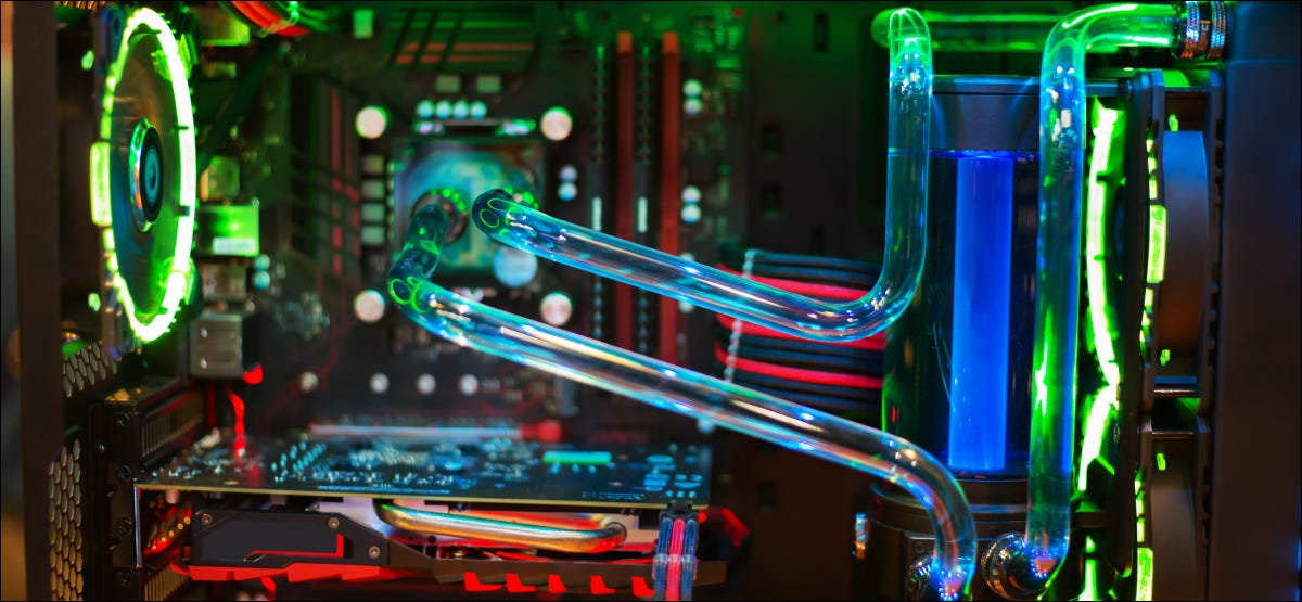 A liquid cooling system inside a PC case.