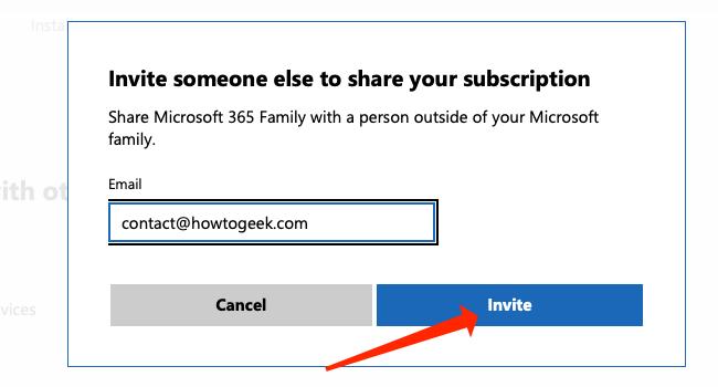 """Cliquez sur """"Inviter"""" pour envoyer l"""