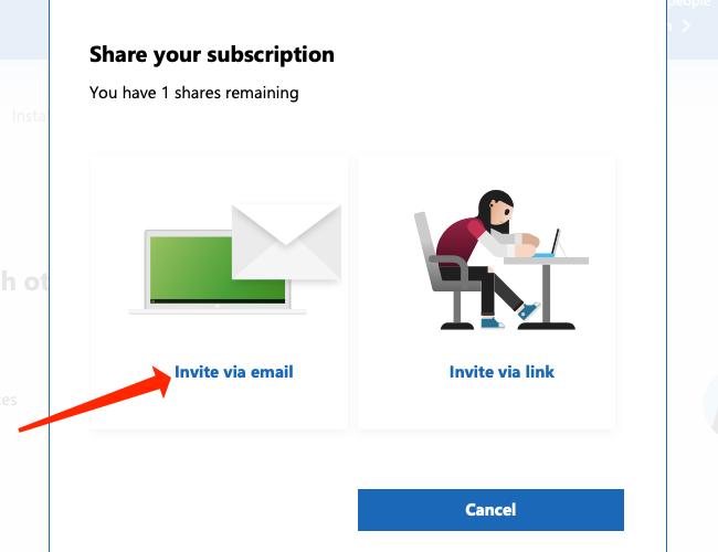 Cliquez sur « Inviter par e-mail » pour envoyer une invitation par e-mail à votre famille Microsoft 365.