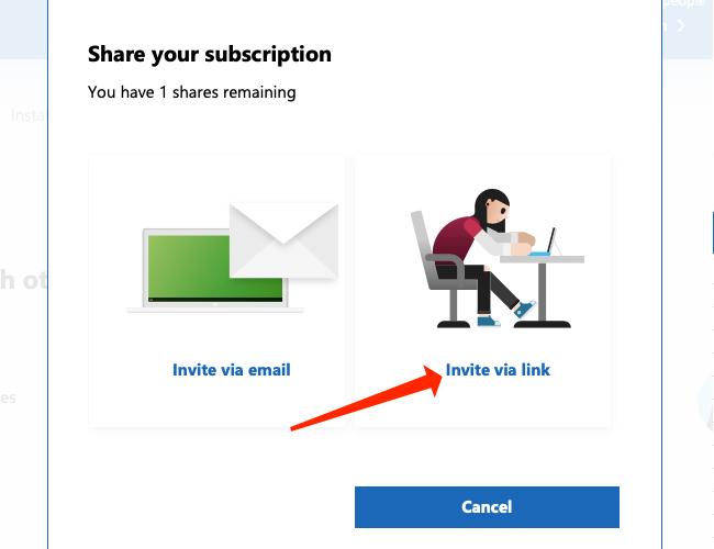 """Cliquez sur """"Inviter via un lien"""" pour générer un lien d"""