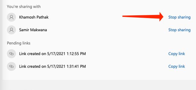 Cliquez sur «Arrêter le partage» pour supprimer des personnes de votre famille Microsoft 365.