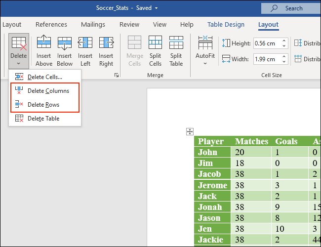 Click Delete Columns or Delete Rows to get rid of columns and rows from Microsoft Word tables