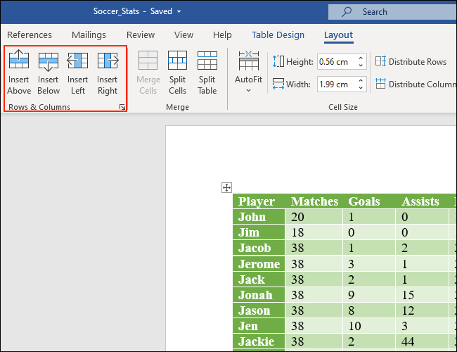 The Rows & Columns part of the Layout tab lets you add rows and columns to Microsoft Word tables