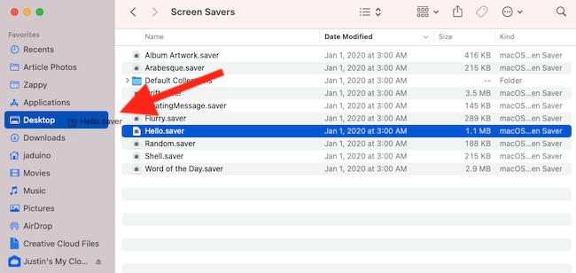 Move the Hello screen saver to your Desktop folder